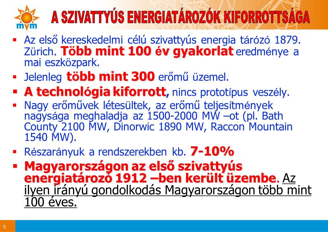 5. T ö bb mint 100 é v gyakorlat  Az első kereskedelmi célú szivattyús energia t á r ó z ó 1879. Z ü rich. T ö bb mint 100 é v gyakorlat eredm é nye