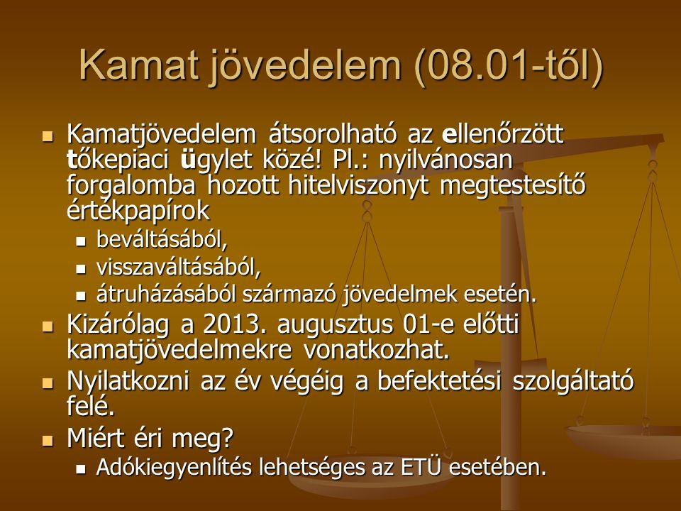 Kamat jövedelem (08.01-től)  Kamatjövedelem átsorolható az ellenőrzött tőkepiaci ügylet közé! Pl.: nyilvánosan forgalomba hozott hitelviszonyt megtes