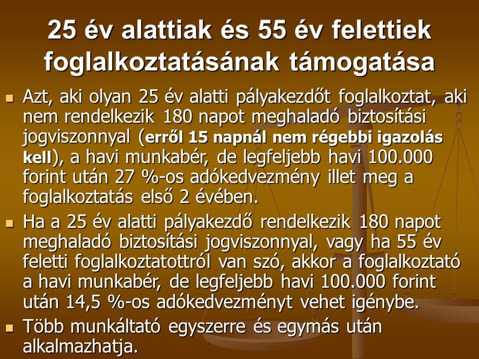 25 év alattiak és 55 év felettiek foglalkoztatásának támogatása  Azt, aki olyan 25 év alatti pályakezdőt foglalkoztat, aki nem rendelkezik 180 napot
