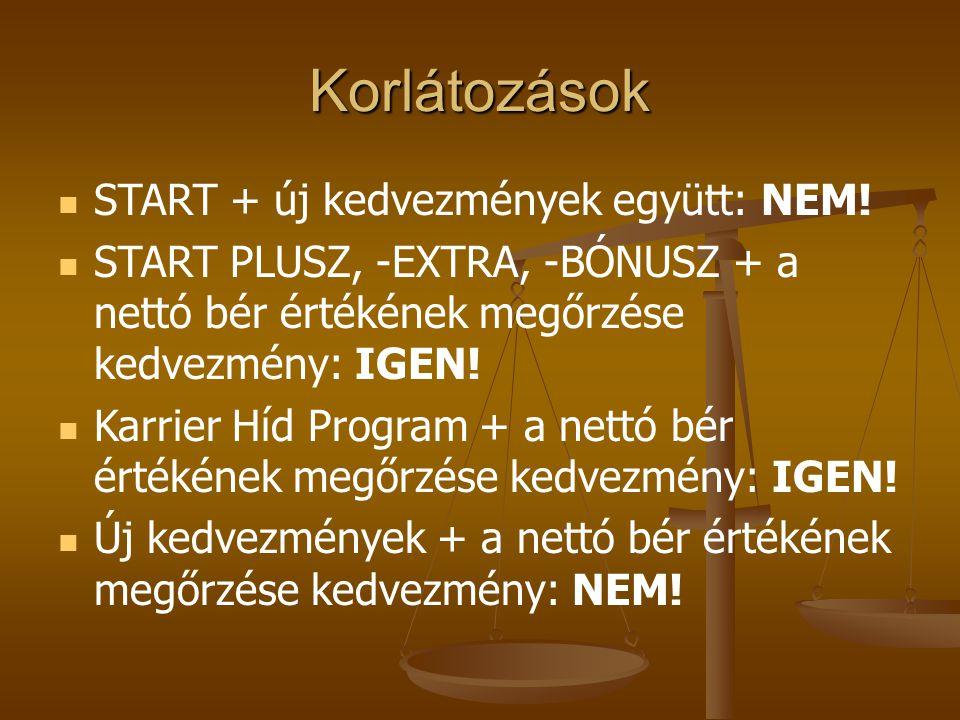 Korlátozások   START + új kedvezmények együtt: NEM!   START PLUSZ, -EXTRA, -BÓNUSZ + a nettó bér értékének megőrzése kedvezmény: IGEN!   Karrier