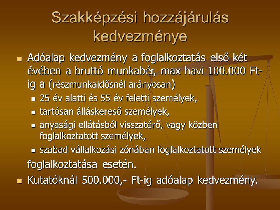 Szakképzési hozzájárulás kedvezménye  Adóalap kedvezmény a foglalkoztatás első két évében a bruttó munkabér, max havi 100.000 Ft- ig a ( részmunkaidő