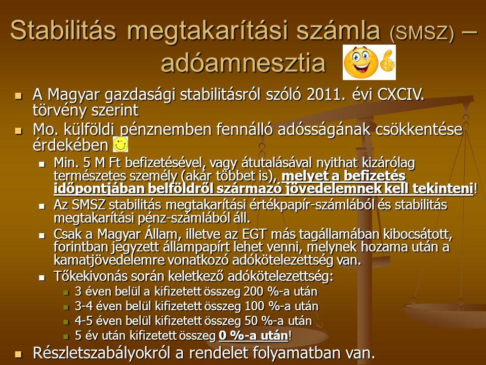 Stabilitás megtakarítási számla (SMSZ) – adóamnesztia  A Magyar gazdasági stabilitásról szóló 2011. évi CXCIV. törvény szerint  Mo. külföldi pénznem