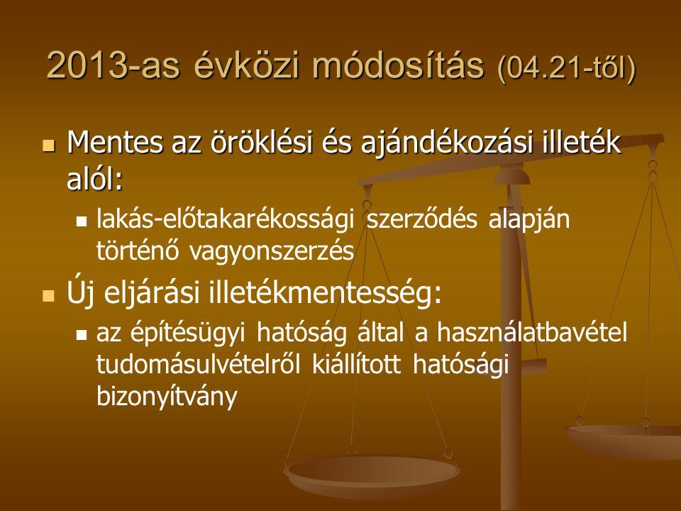 2013-as évközi módosítás (04.21-től)  Mentes az öröklési és ajándékozási illeték alól:   lakás-előtakarékossági szerződés alapján történő vagyonsze