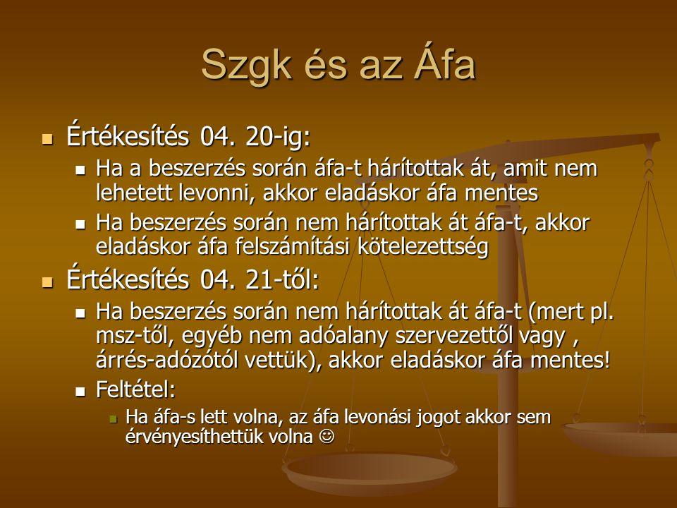 Szgk és az Áfa  Értékesítés 04. 20-ig:  Ha a beszerzés során áfa-t hárítottak át, amit nem lehetett levonni, akkor eladáskor áfa mentes  Ha beszerz