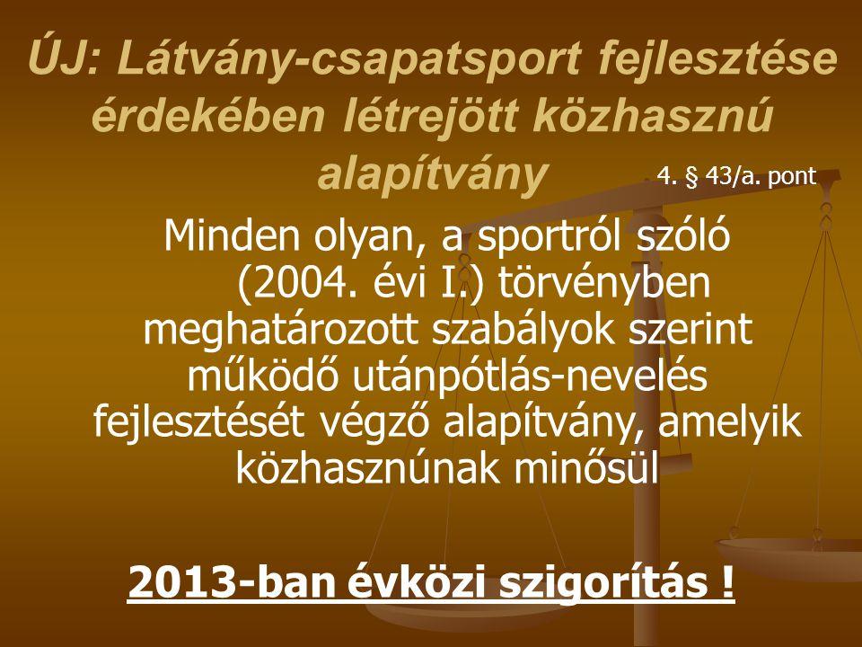 ÚJ: Látvány-csapatsport fejlesztése érdekében létrejött közhasznú alapítvány Minden olyan, a sportról szóló (2004. évi I.) törvényben meghatározott sz