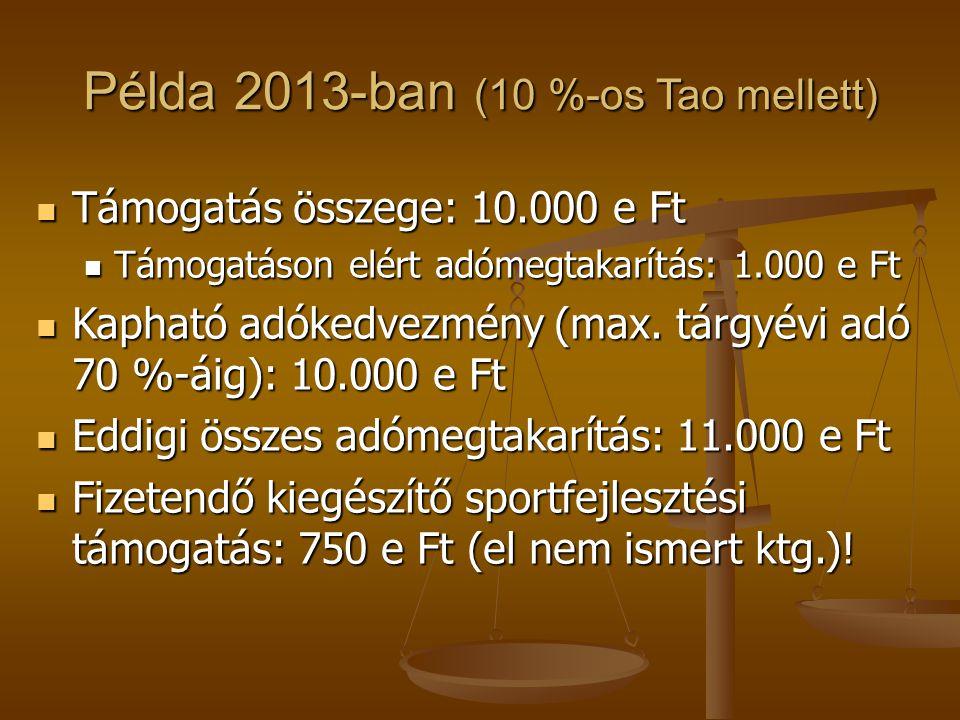 Példa 2013-ban (10 %-os Tao mellett)  Támogatás összege: 10.000 e Ft  Támogatáson elért adómegtakarítás: 1.000 e Ft  Kapható adókedvezmény (max. tá