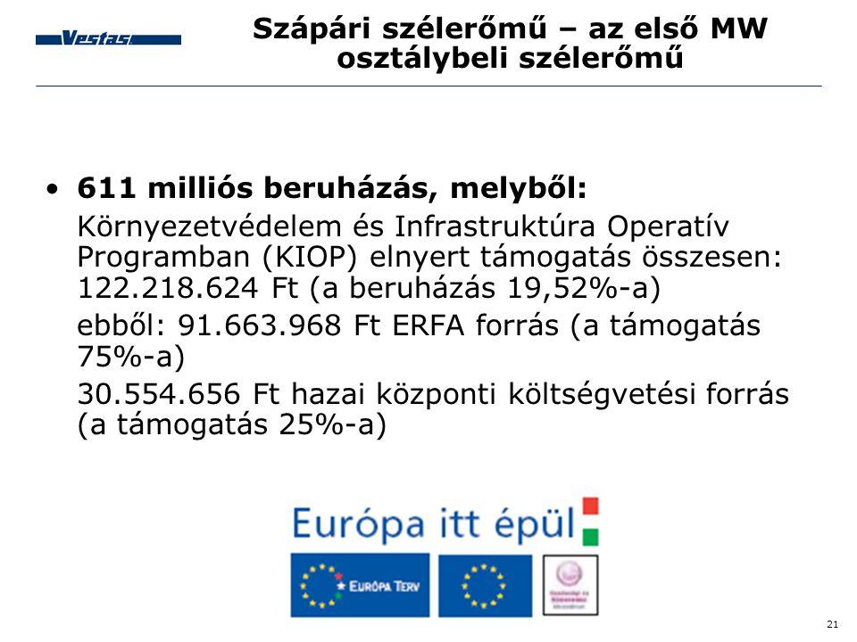 21 Szápári szélerőmű – az első MW osztálybeli szélerőmű •611 milliós beruházás, melyből: Környezetvédelem és Infrastruktúra Operatív Programban (KIOP)