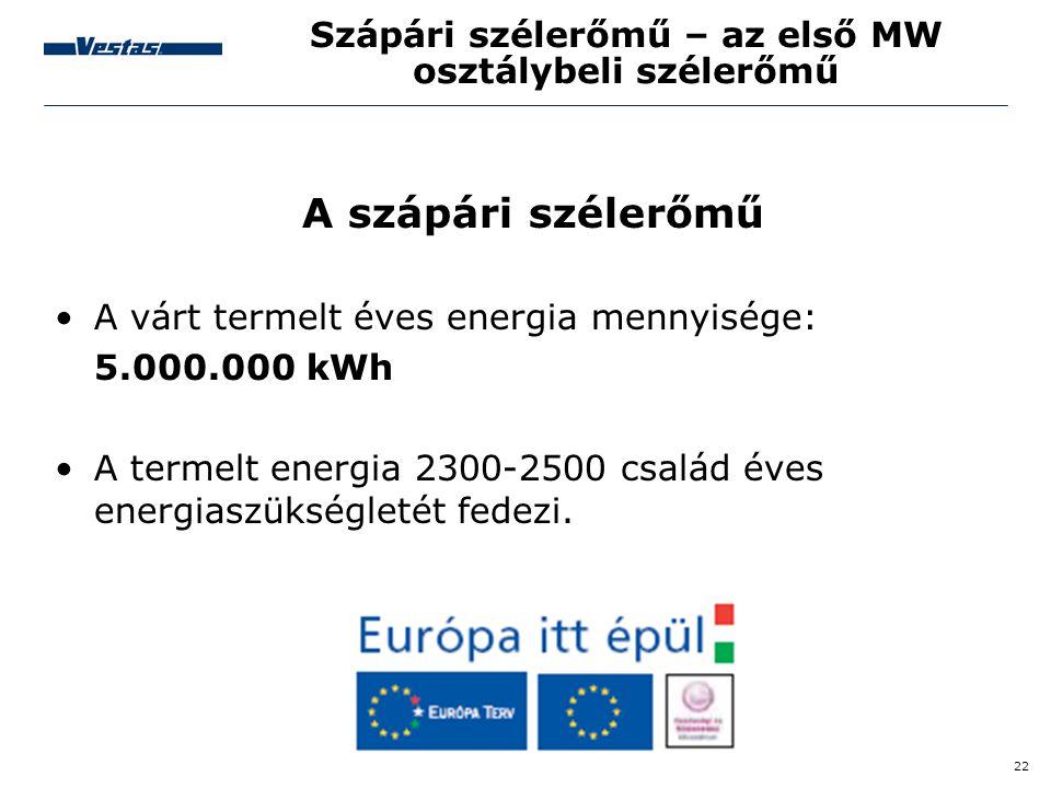 22 Szápári szélerőmű – az első MW osztálybeli szélerőmű A szápári szélerőmű •A várt termelt éves energia mennyisége: 5.000.000 kWh •A termelt energia