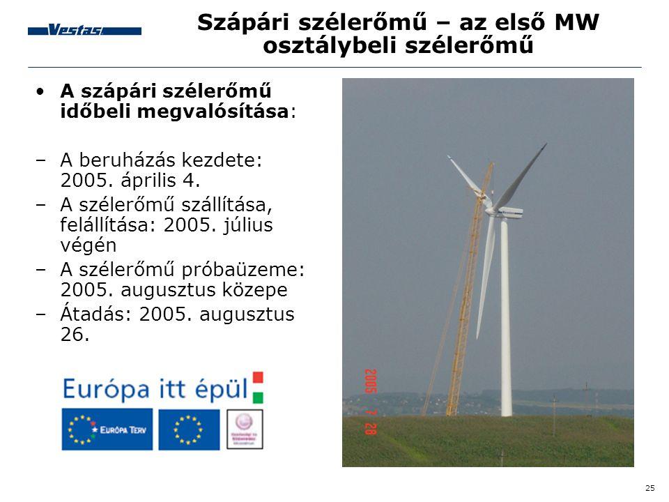 25 Szápári szélerőmű – az első MW osztálybeli szélerőmű •A szápári szélerőmű időbeli megvalósítása: –A beruházás kezdete: 2005. április 4. –A szélerőm