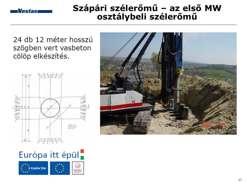 27 Szápári szélerőmű – az első MW osztálybeli szélerőmű 24 db 12 méter hosszú szögben vert vasbeton cölöp elkészítés.
