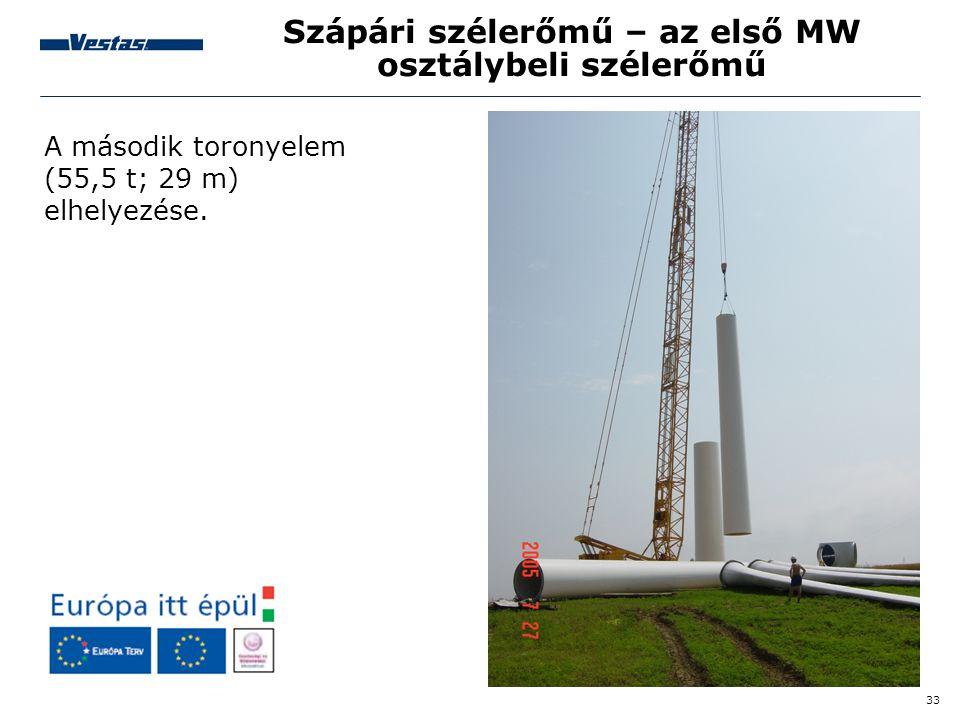 33 Szápári szélerőmű – az első MW osztálybeli szélerőmű A második toronyelem (55,5 t; 29 m) elhelyezése.