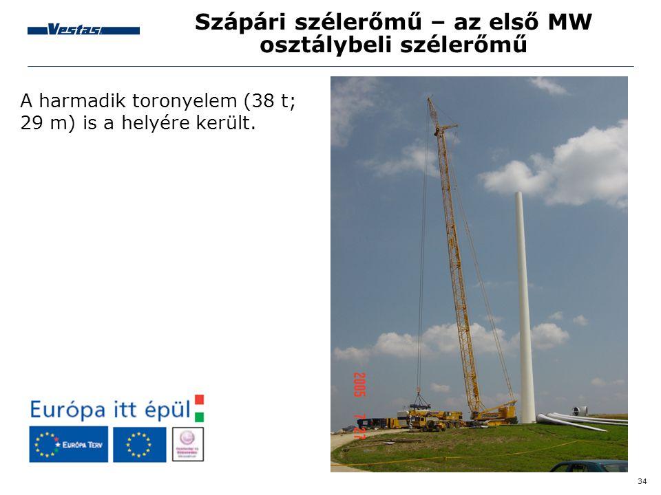 34 Szápári szélerőmű – az első MW osztálybeli szélerőmű A harmadik toronyelem (38 t; 29 m) is a helyére került.