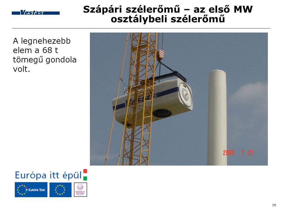 35 Szápári szélerőmű – az első MW osztálybeli szélerőmű A legnehezebb elem a 68 t tömegű gondola volt.