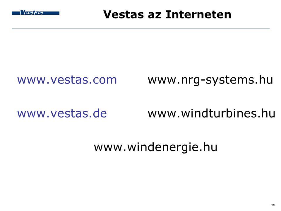 38 Vestas az Interneten www.vestas.com www.nrg-systems.hu www.vestas.de www.windturbines.hu www.windenergie.hu