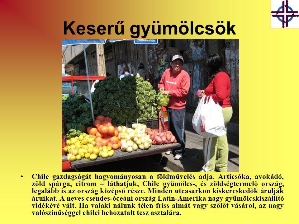 Keserű gyümölcsök •Chile gazdagságát hagyományosan a földművelés adja. Articsóka, avokádó, zöld spárga, citrom – láthatjuk, Chile gyümölcs-, és zöldsé
