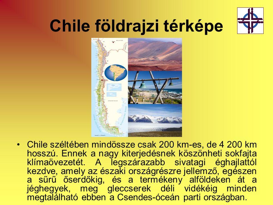 Chile földrajzi térképe •Chile széltében mindössze csak 200 km-es, de 4 200 km hosszú. Ennek a nagy kiterjedésnek köszönheti sokfajta klímaövezetét. A