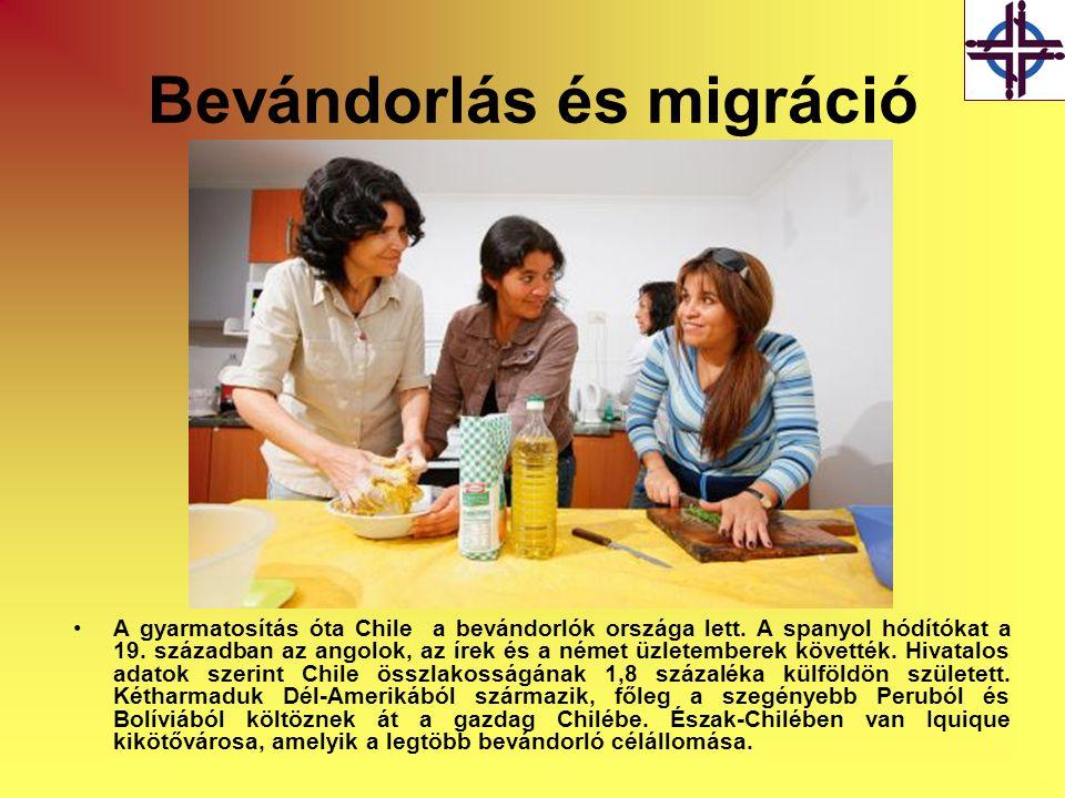 Bevándorlás és migráció •A gyarmatosítás óta Chile a bevándorlók országa lett. A spanyol hódítókat a 19. században az angolok, az írek és a német üzle