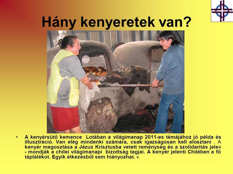 Hány kenyeretek van? •A kenyérsütő kemence Lotában a világimanap 2011-es témájához jó példa és illusztráció. Van elég mindenki számára, csak igazságos