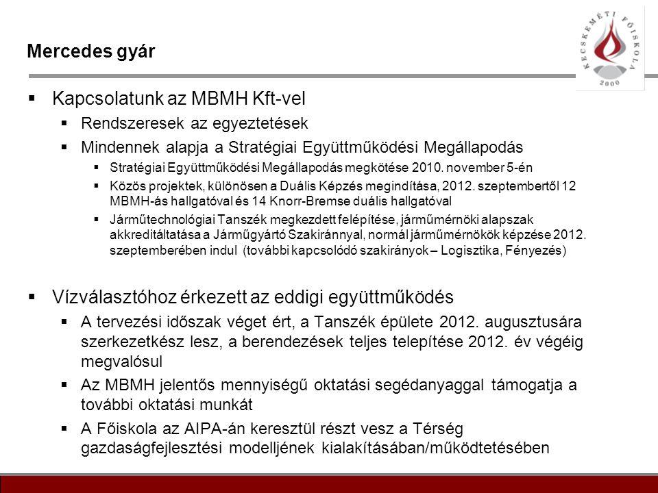3 Mercedes gyár  Kapcsolatunk az MBMH Kft-vel  Rendszeresek az egyeztetések  Mindennek alapja a Stratégiai Együttműködési Megállapodás  Stratégiai