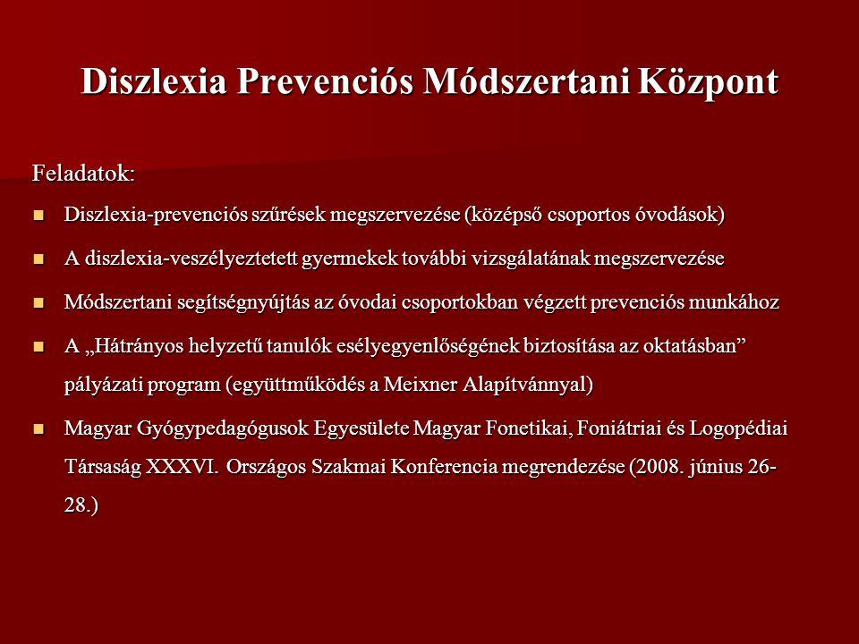 """Diszlexia Prevenciós Módszertani Központ Feladatok:  Diszlexia-prevenciós szűrések megszervezése (középső csoportos óvodások)  A diszlexia-veszélyeztetett gyermekek további vizsgálatának megszervezése  Módszertani segítségnyújtás az óvodai csoportokban végzett prevenciós munkához  A """"Hátrányos helyzetű tanulók esélyegyenlőségének biztosítása az oktatásban pályázati program (együttműködés a Meixner Alapítvánnyal)  Magyar Gyógypedagógusok Egyesülete Magyar Fonetikai, Foniátriai és Logopédiai Társaság XXXVI."""