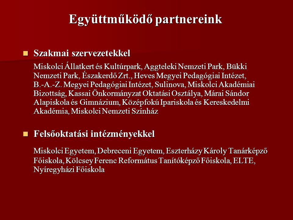 Együttműködő partnereink  Szakmai szervezetekkel Miskolci Állatkert és Kultúrpark, Aggteleki Nemzeti Park, Bükki Nemzeti Park, Északerdő Zrt., Heves Megyei Pedagógiai Intézet, B.-A.-Z.