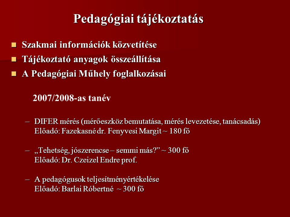 Pedagógiai tájékoztatás  Szakmai információk közvetítése  Tájékoztató anyagok összeállítása  A Pedagógiai Műhely foglalkozásai  A Pedagógiai Műhely foglalkozásai 2007/2008-as tanév –DIFER mérés (mérőeszköz bemutatása, mérés levezetése, tanácsadás) Előadó: Fazekasné dr.