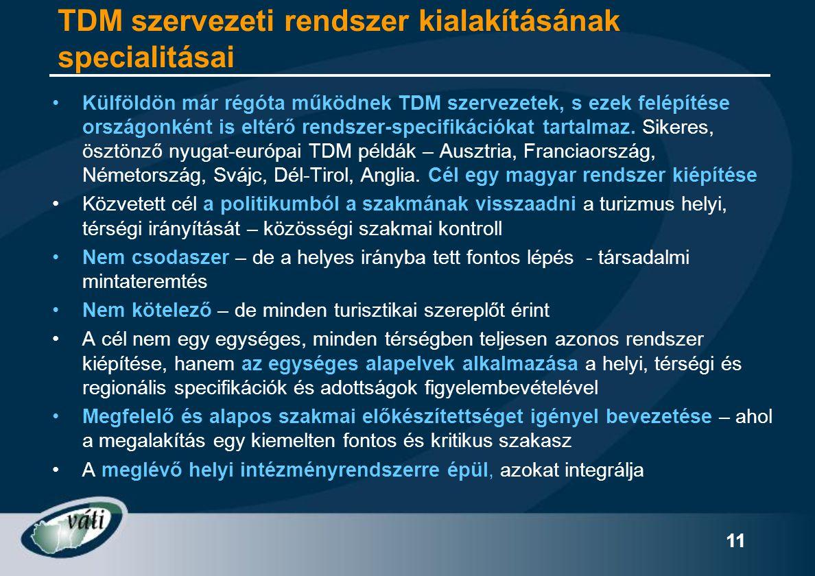 11 TDM szervezeti rendszer kialakításának specialitásai •Külföldön már régóta működnek TDM szervezetek, s ezek felépítése országonként is eltérő rends