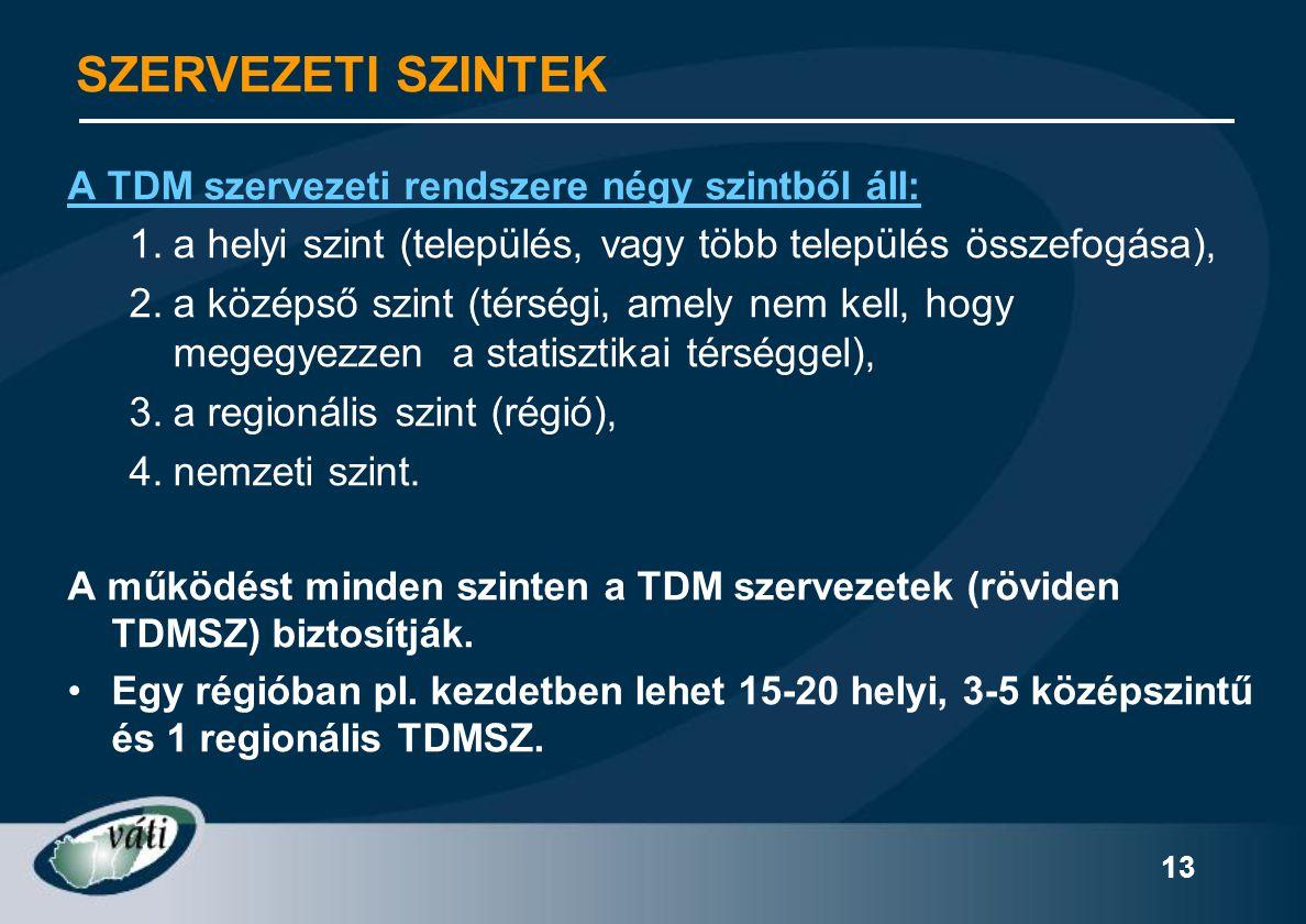 13 A TDM szervezeti rendszere négy szintből áll: 1.a helyi szint (település, vagy több település összefogása), 2.a középső szint (térségi, amely nem k