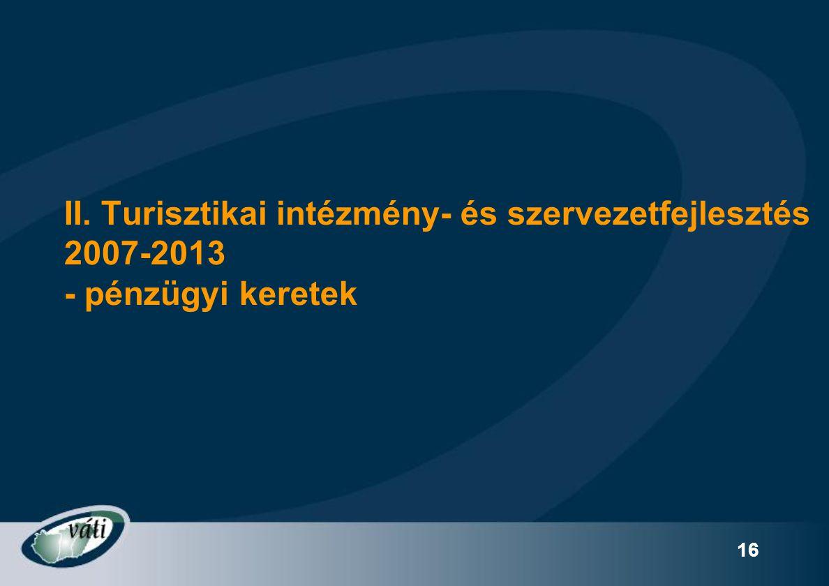 16 II. Turisztikai intézmény- és szervezetfejlesztés 2007-2013 - pénzügyi keretek