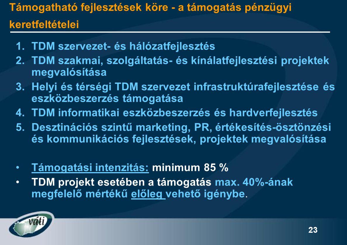 23 Támogatható fejlesztések köre - a támogatás pénzügyi keretfeltételei 1.TDM szervezet- és hálózatfejlesztés 2. TDM szakmai, szolgáltatás- és kínálat