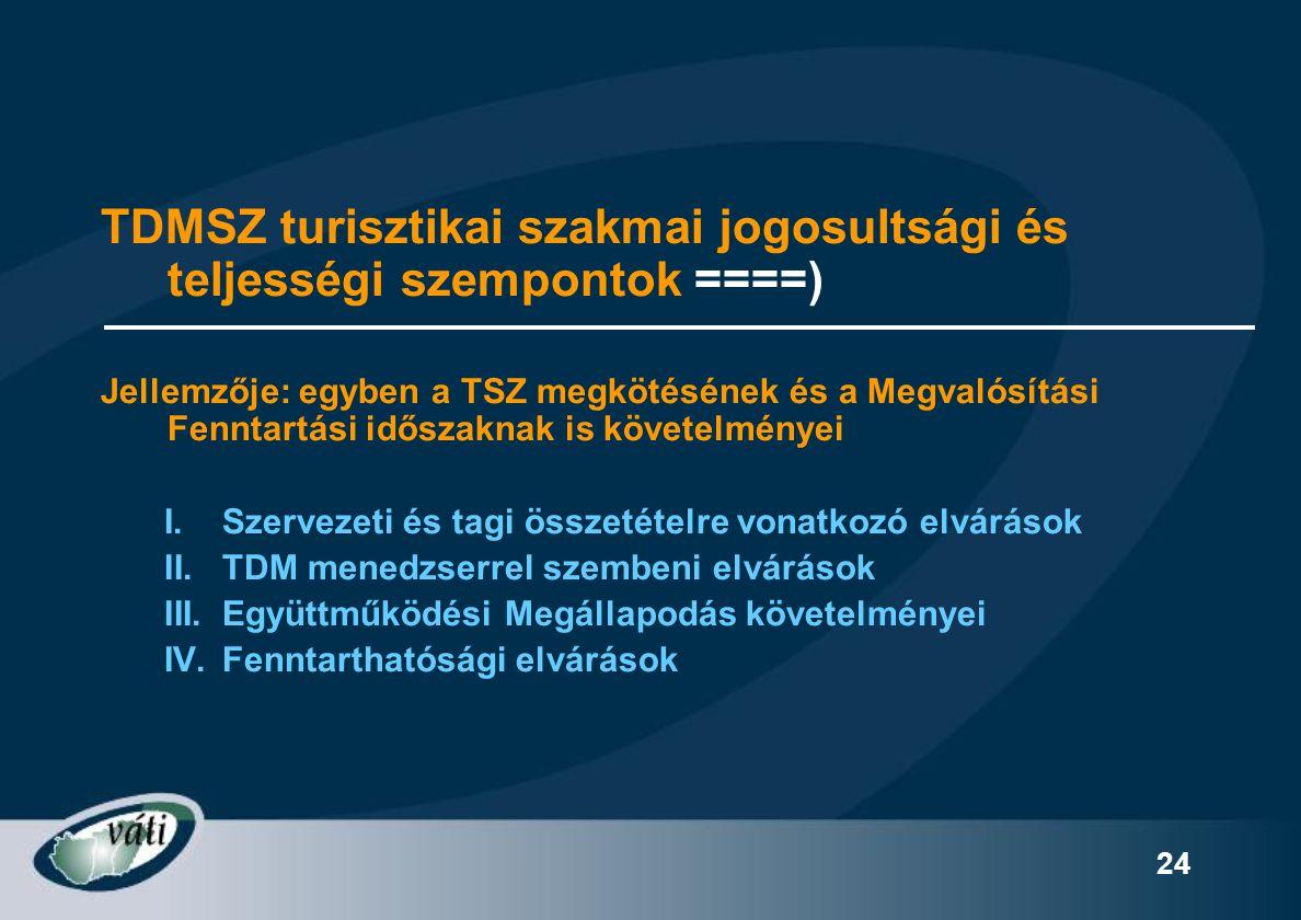 24 TDMSZ turisztikai szakmai jogosultsági és teljességi szempontok ====) Jellemzője: egyben a TSZ megkötésének és a Megvalósítási Fenntartási időszakn