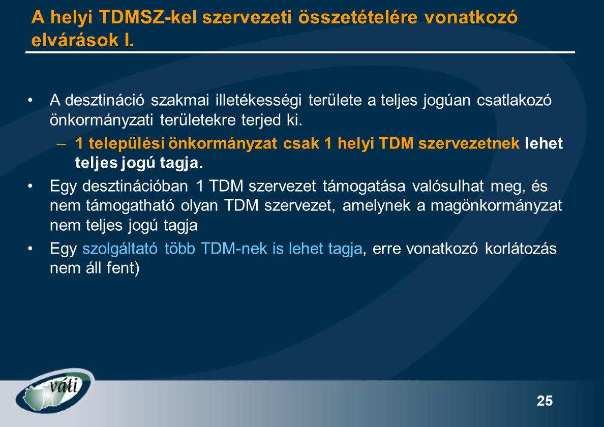 25 A helyi TDMSZ-kel szervezeti összetételére vonatkozó elvárások I. •A desztináció szakmai illetékességi területe a teljes jogúan csatlakozó önkormán