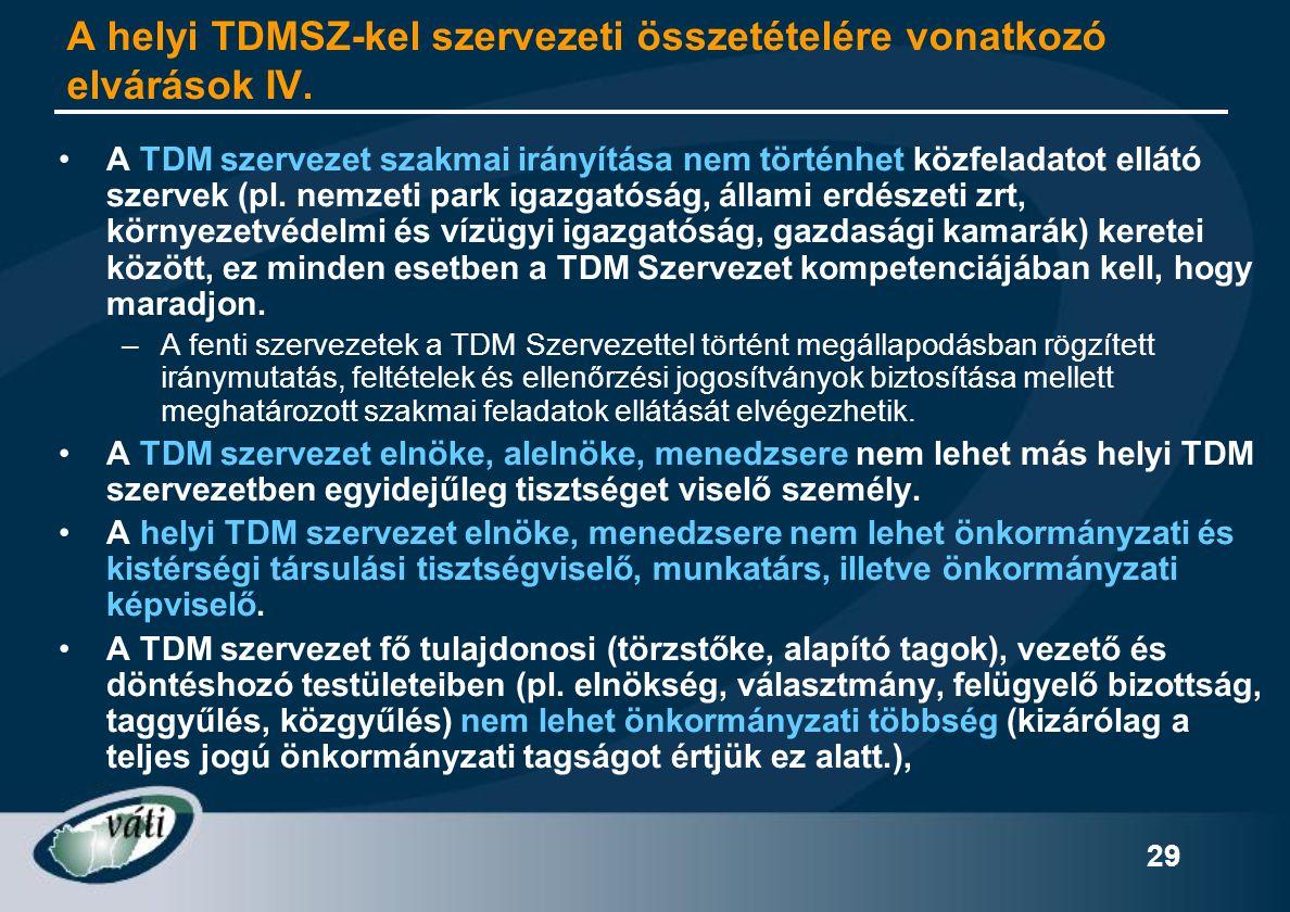 29 A helyi TDMSZ-kel szervezeti összetételére vonatkozó elvárások IV. •A TDM szervezet szakmai irányítása nem történhet közfeladatot ellátó szervek (p