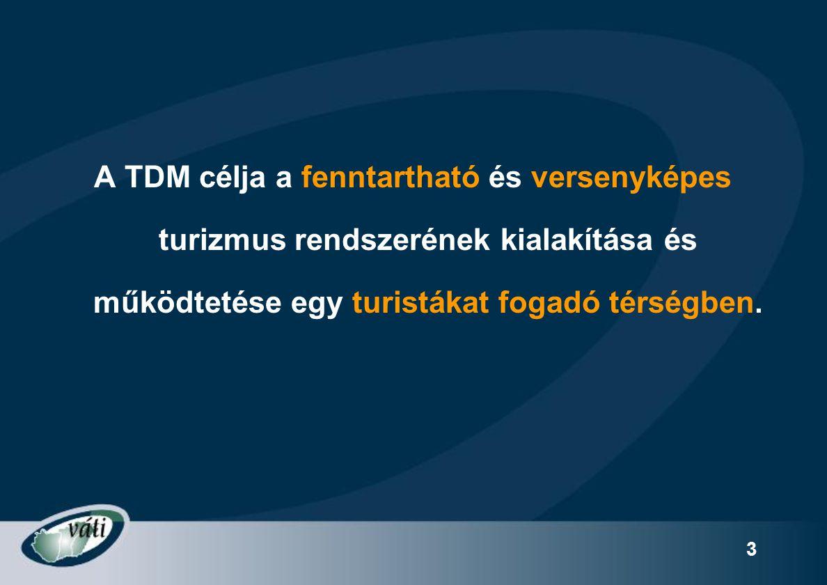 24 TDMSZ turisztikai szakmai jogosultsági és teljességi szempontok ====) Jellemzője: egyben a TSZ megkötésének és a Megvalósítási Fenntartási időszaknak is követelményei I.Szervezeti és tagi összetételre vonatkozó elvárások II.TDM menedzserrel szembeni elvárások III.Együttműködési Megállapodás követelményei IV.Fenntarthatósági elvárások