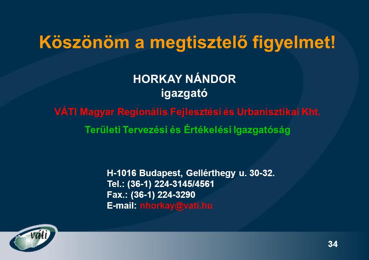 34 Köszönöm a megtisztelő figyelmet! HORKAY NÁNDOR igazgató H-1016 Budapest, Gellérthegy u. 30-32. Tel.: (36-1) 224-3145/4561 Fax.: (36-1) 224-3290 E-