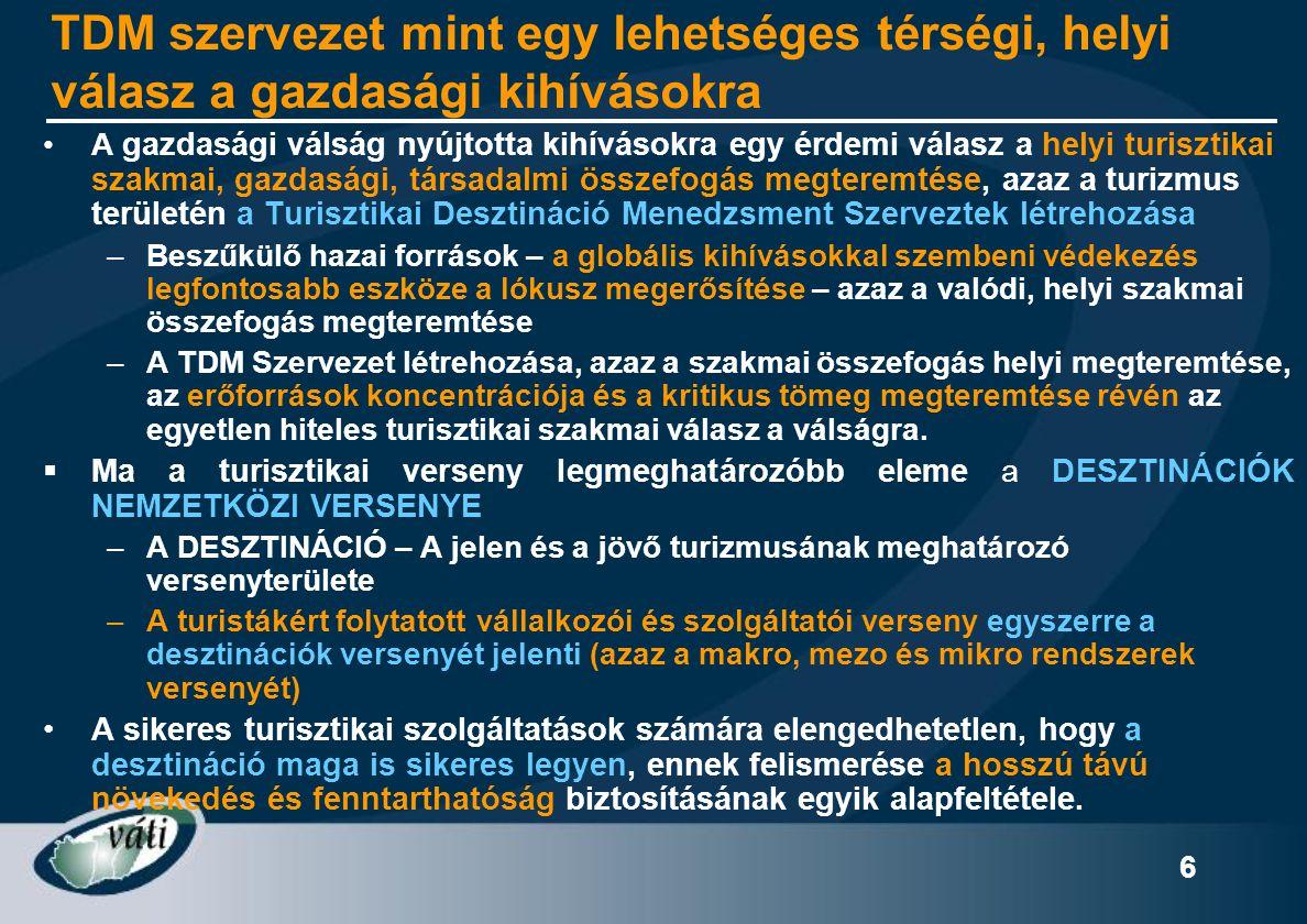 """7 TDM szervezeti rendszer kialakulását támogató és ösztönző trendek •Területi és helyi (desztinációs) szemlélet erősödése (régió, kistérség, stb.) •""""Hálózatosodás – A Desztinációk versenye egyszerre a Stratégiai Partnerségek és Hálózatok Versenye -) Feladat: a HÁLÓZATI VERSENYKÉPESSÉG NÖVELÉSE •Verseny vs."""