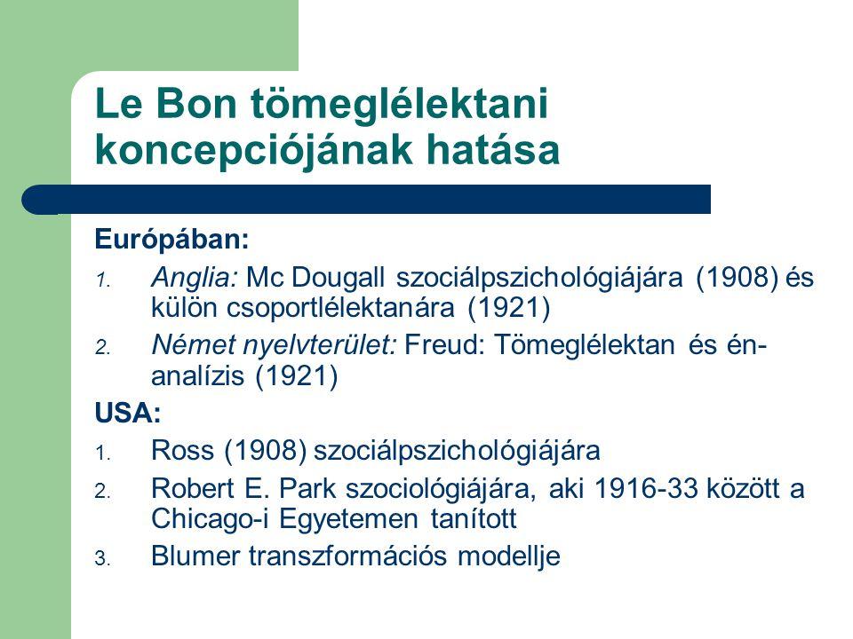 Le Bon tömeglélektani koncepciójának hatása Európában: 1. Anglia: Mc Dougall szociálpszichológiájára (1908) és külön csoportlélektanára (1921) 2. Néme