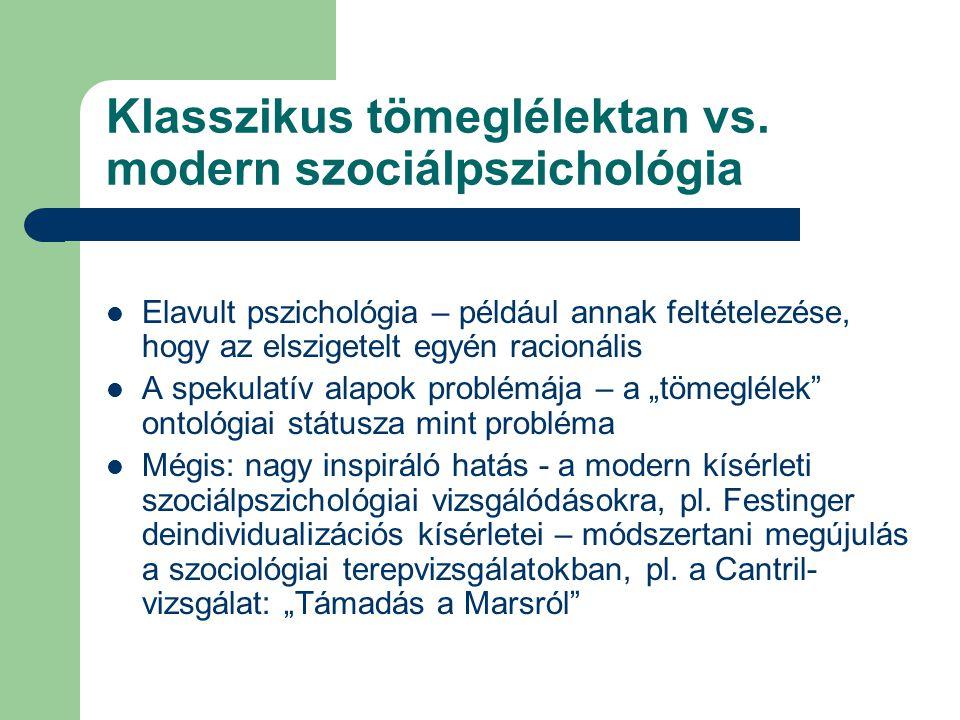 Klasszikus tömeglélektan vs. modern szociálpszichológia  Elavult pszichológia – például annak feltételezése, hogy az elszigetelt egyén racionális  A