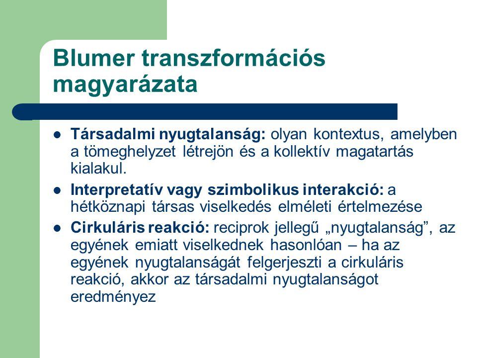 Blumer transzformációs magyarázata  Társadalmi nyugtalanság: olyan kontextus, amelyben a tömeghelyzet létrejön és a kollektív magatartás kialakul. 