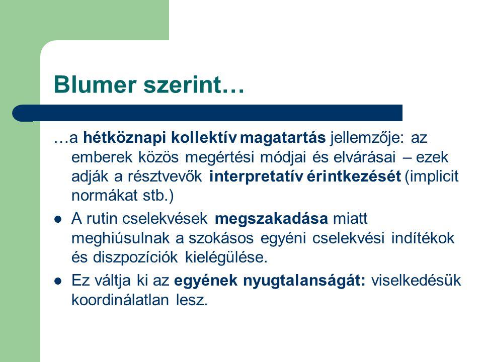 Blumer szerint… …a hétköznapi kollektív magatartás jellemzője: az emberek közös megértési módjai és elvárásai – ezek adják a résztvevők interpretatív