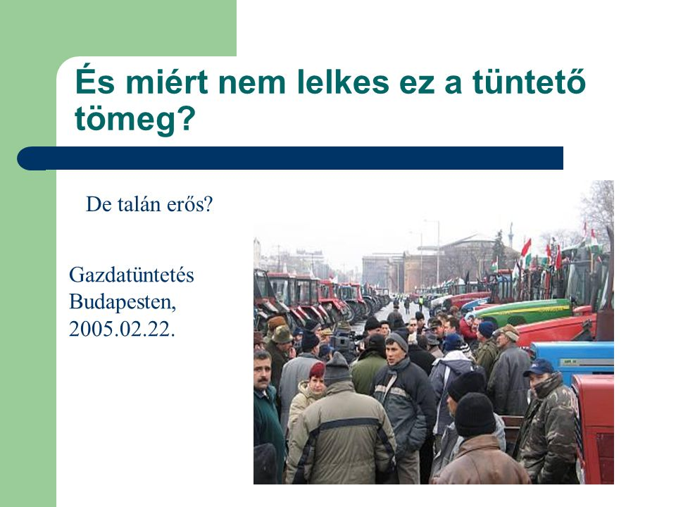 És miért nem lelkes ez a tüntető tömeg? De talán erős? Gazdatüntetés Budapesten, 2005.02.22.