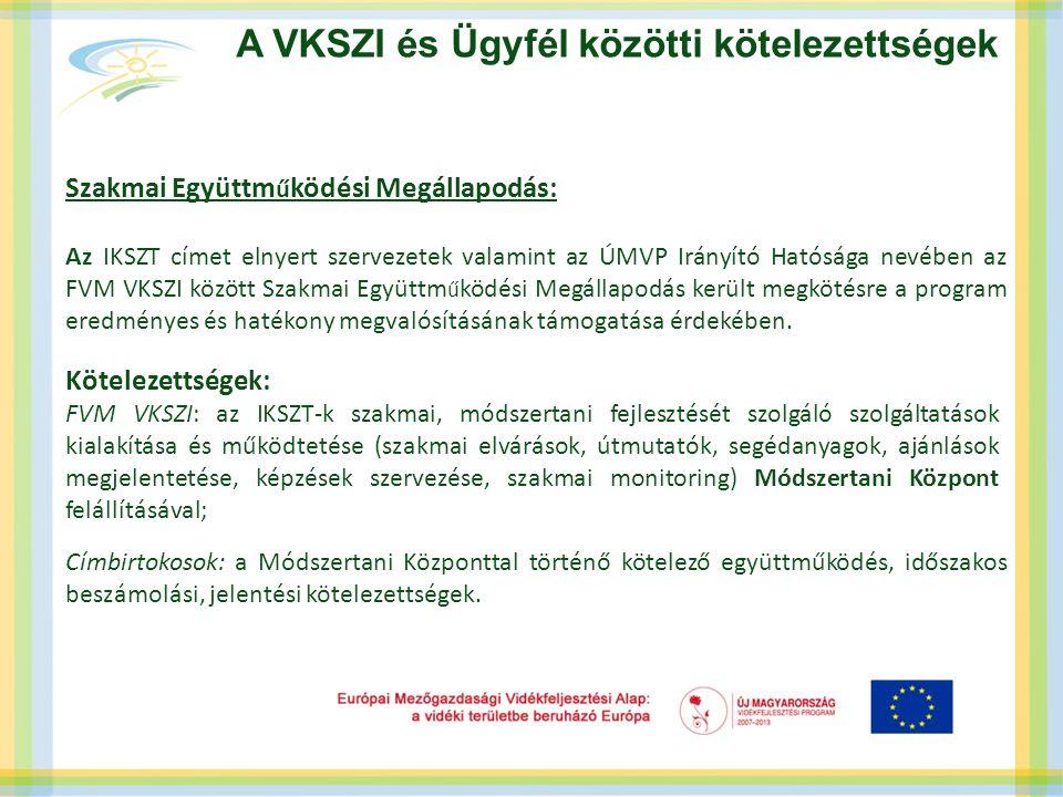 Szakmai Együttm ű ködési Megállapodás: Az IKSZT címet elnyert szervezetek valamint az ÚMVP Irányító Hatósága nevében az FVM VKSZI között Szakmai Együt