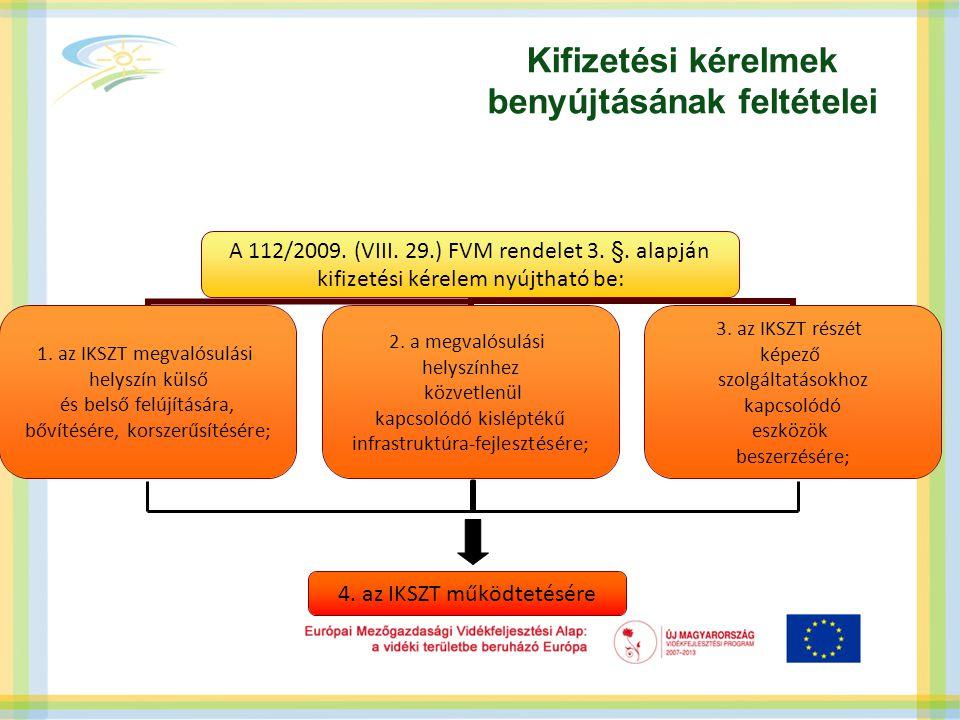 Kifizetési kérelmek benyújtásának feltételei 4. az IKSZT működtetésére