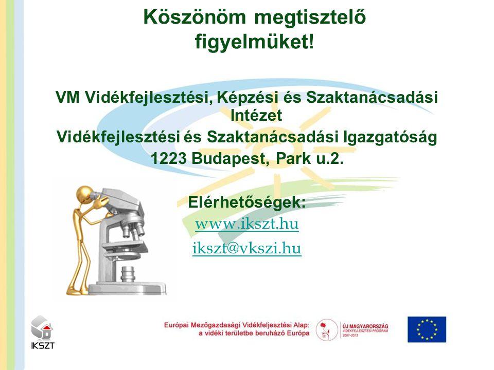 VM Vidékfejlesztési, Képzési és Szaktanácsadási Intézet Vidékfejlesztési és Szaktanácsadási Igazgatóság 1223 Budapest, Park u.2. Elérhetőségek: www.ik
