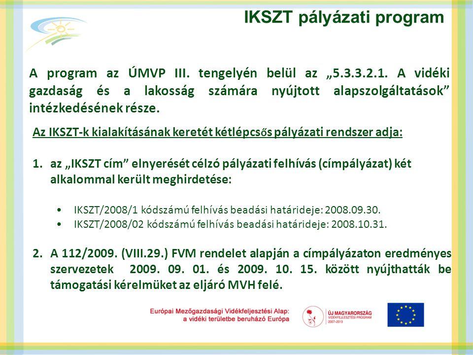 """IKSZT pályázati program A program az ÚMVP III. tengelyén belül az """"5.3.3.2.1."""