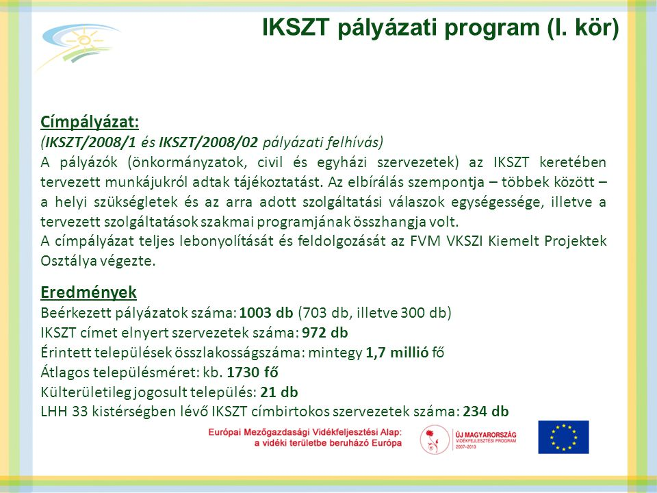 IKSZT pályázati program (I. kör) Címpályázat: (IKSZT/2008/1 és IKSZT/2008/02 pályázati felhívás) A pályázók (önkormányzatok, civil és egyházi szerveze