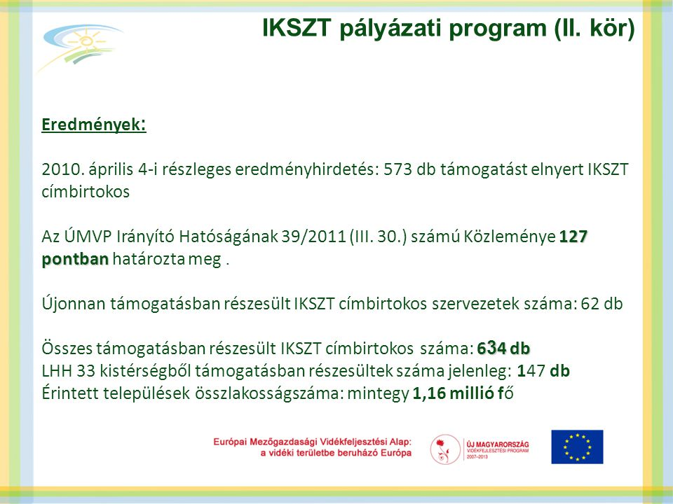 IKSZT pályázati program (II. kör) Eredmények : 2010. április 4-i részleges eredményhirdetés: 573 db támogatást elnyert IKSZT címbirtokos 127 pontban A