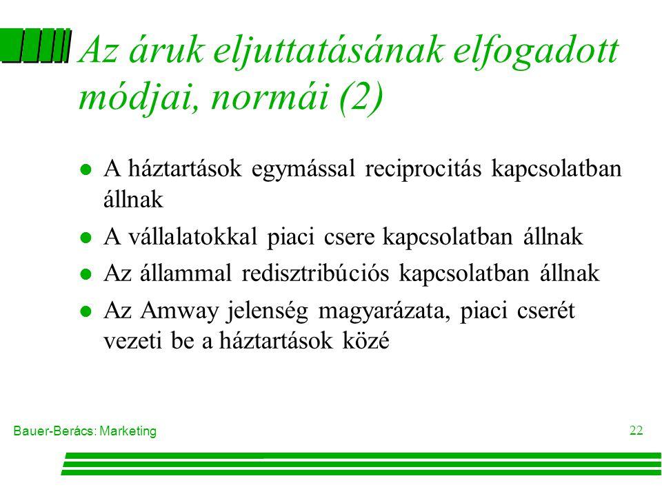 Bauer-Berács: Marketing 21 Az áruk eljuttatásának elfogadott módjai, normái(1) l A rendszer szereplõi Háztartások Vállalatok Állam l A vállalatok álta
