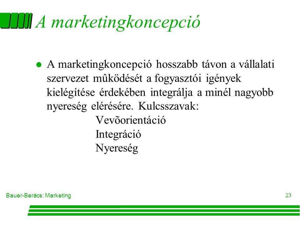 Bauer-Berács: Marketing 22 Az áruk eljuttatásának elfogadott módjai, normái (2) l A háztartások egymással reciprocitás kapcsolatban állnak l A vállala