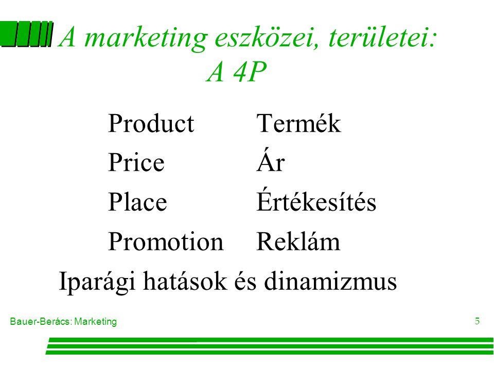 Bauer-Berács: Marketing 5 A marketing eszközei, területei: A 4P ProductTermék PriceÁr PlaceÉrtékesítés PromotionReklám Iparági hatások és dinamizmus